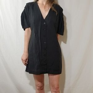 Zara black mini dress with buttons down the front
